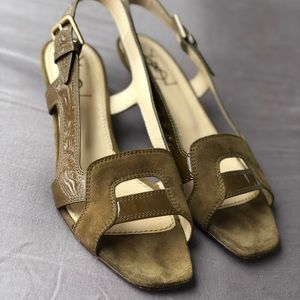 YSL green suede/patent kitten heel sandals